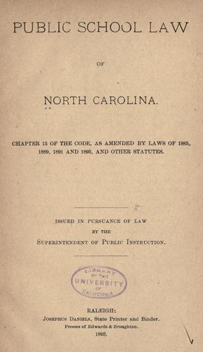 Download Public school law of North Carolina …