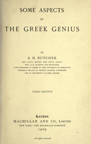 Download Some aspects of the Greek genius.