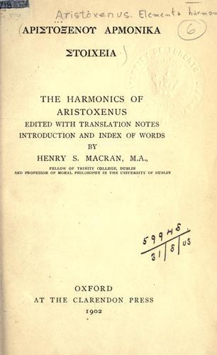 Download Aristoxenou Harmonika stoicheia.