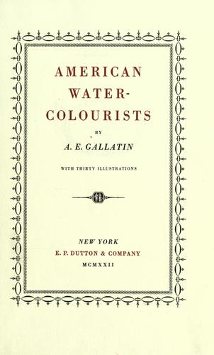 American water-colourists