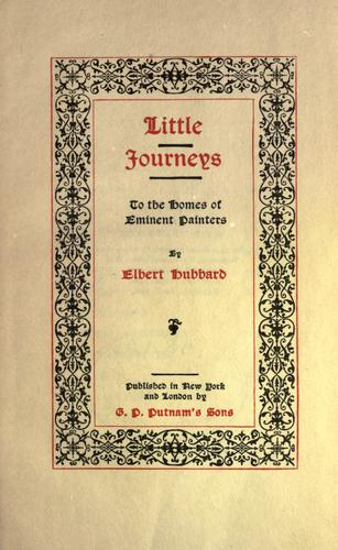 Download Little journeys to the homes of eminent painters.