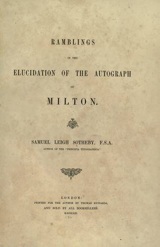 Download Ramblings in the elucidation of the autograph of Milton