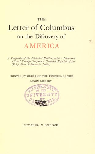 The letter of Colombus on the discovery of America.