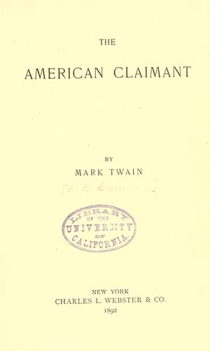 American claimant by Mark Twain