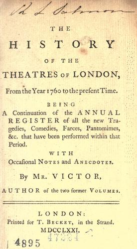 The history of the theatres of London