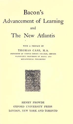 Download Advancement of learning, and The new Atlantis.