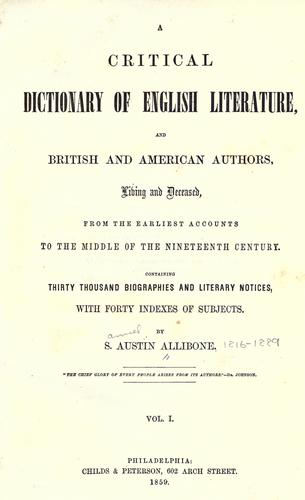 Download A critical dictionary of English literature