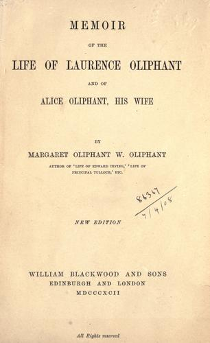Download Memoir of the life of Laurence Oliphant and of Alice Oliphant, his wife.