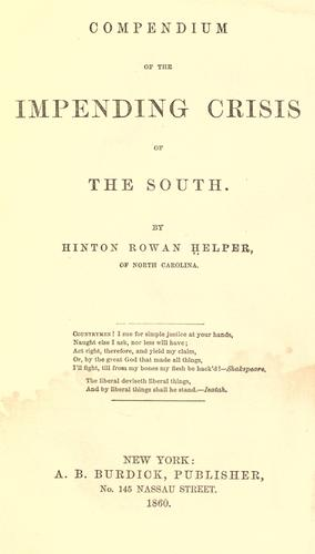 Download Compendium of the impending crisis of the South