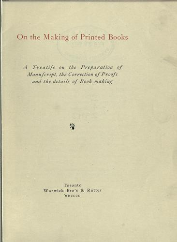 On the making of printed books