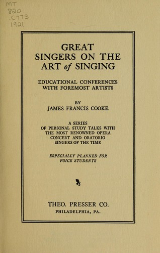 Download Great singers on the art of singing