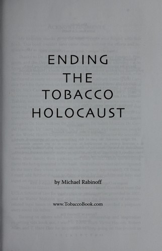 Download Ending the tobacco holocaust