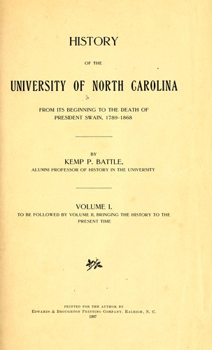 Download History of the University of North Carolina