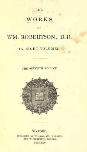 The works of Wm. Robertson, D. D.