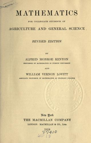 Mathematics for collegiate students of agriculture and general science.