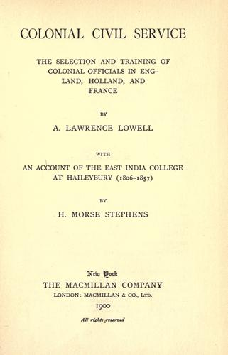 Download Colonial civil service