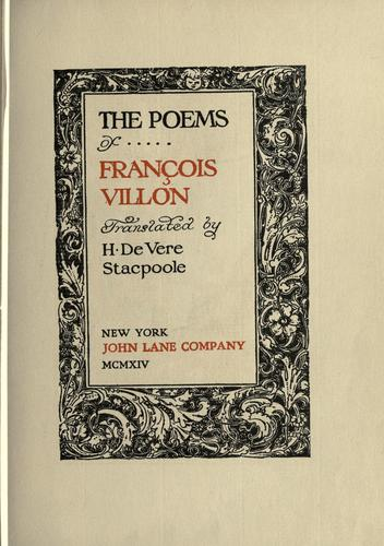 The poems of François Villon.