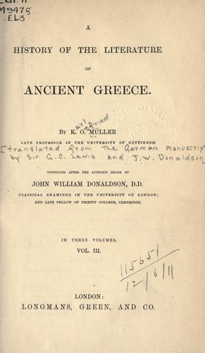Download A history of the literature of ancient Greece