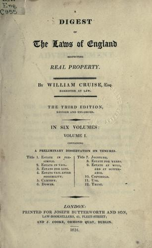 Download A digest of the laws of England respecting real property.