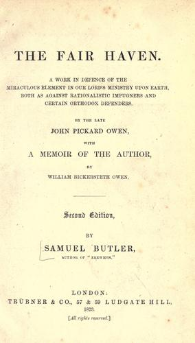 The fair haven by Samuel Butler