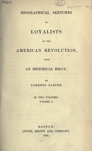 Download Biographical sketches of Loyalists of the American Revolution