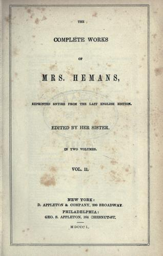Complete works of Mrs. Hemans