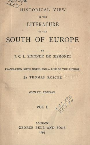 Download Historical view of the literature of the south of Europe.