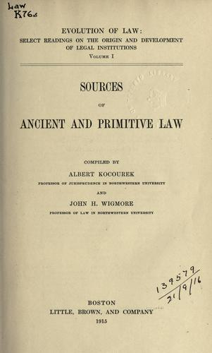 Sources of ancient and primitive law.