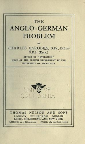 Download The Anglo-German problem