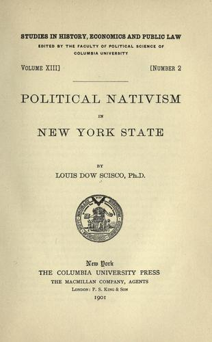 Political nativism in New York State