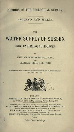 Download The water supply of Sussex, from underground sources