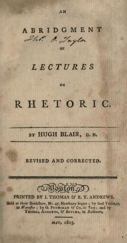 An abridgment of Lectures on rhetoric