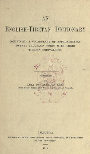 An English-Tibetan dictionary