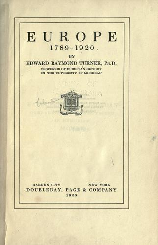 Download Europe, 1789-1920.