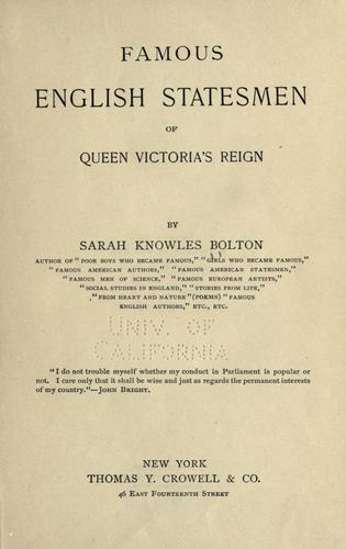 Download Famous English statesmen of Queen Victoria's reign