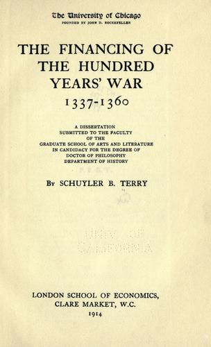 Download The financing of the hundred years' war, 1337-1360 …