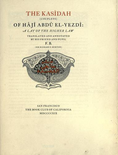 The Kasîdah (couplets of Hâjî Abdû el-Yezdî