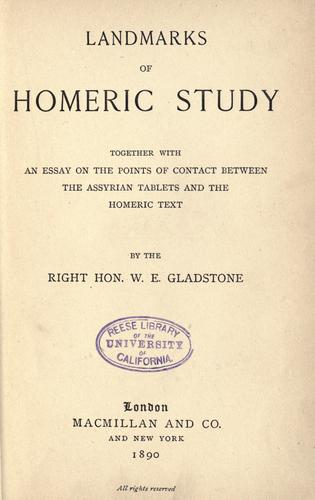 Download Landmarks of Homeric study.