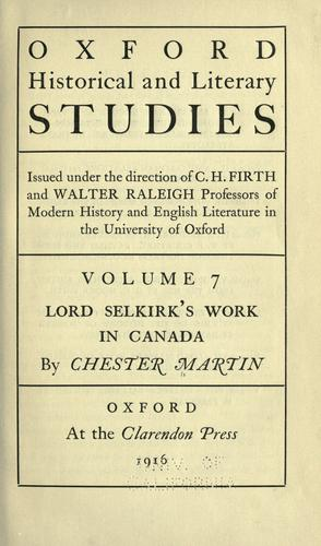 Lord Selkirk's work in Canada