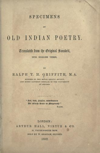 Specimens of old Indian poetry.