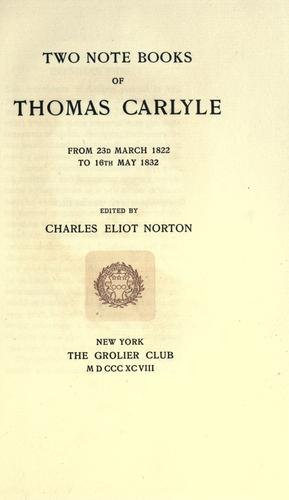 Download Two notebooks of Thomas Carlyle