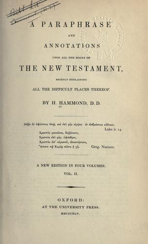 Download A Paraphrase and annotations upon all the books of the New Testament