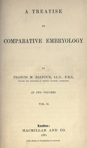 A treatise on comparative embryology.