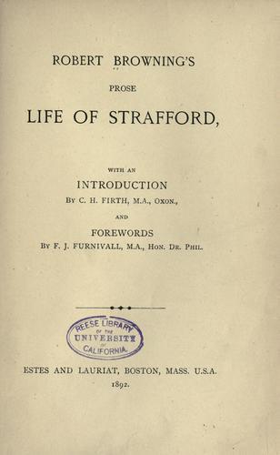 Download Prose life of Strafford.