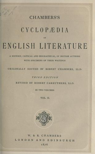 Chambers's cyclopaedia of English literature by Chambers, Robert