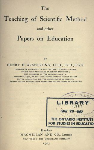 Download The teaching of scientific method and other papers on education