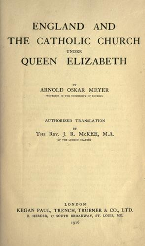 Download England and the Catholic Church under Queen Elizabeth