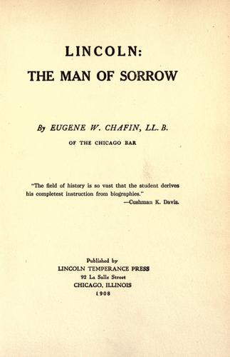 Download Lincoln: the man of sorrow