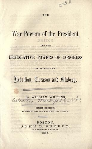 Download The war powers of the President