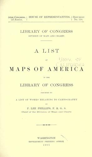 A list of maps of America in the Library of Congress